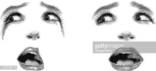 face of shock - stretched image stock illustrations, clip art, cartoons, & icons