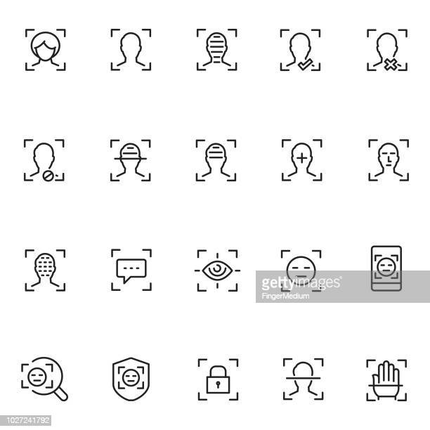 face recognition icon set - human face stock illustrations