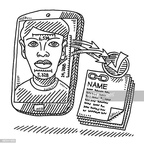 Face Recognition Smart Phone Technology Drawing