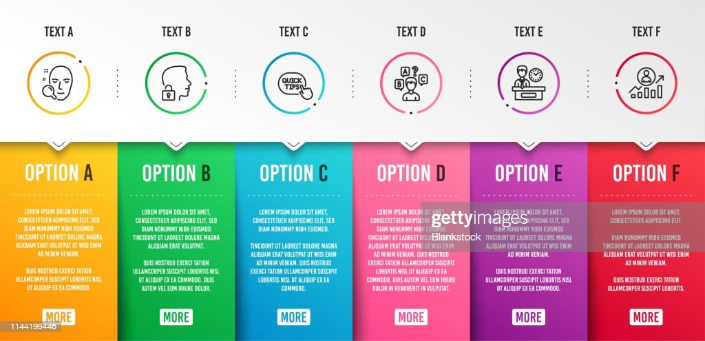Face search, Presentation time and Quick tips icons set. Quiz test, Unlock system and Career ladder signs. Vector
