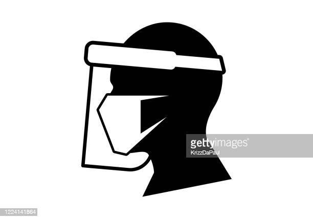 face shield - toxic social concept stock illustrations