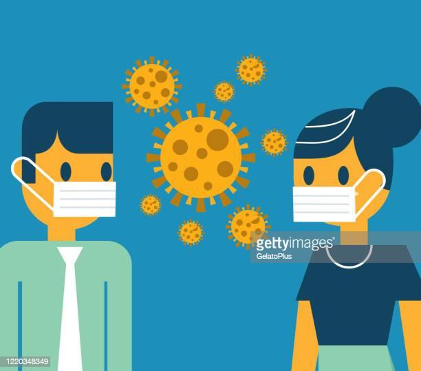 face to face wearing masks - avian flu virus stock illustrations