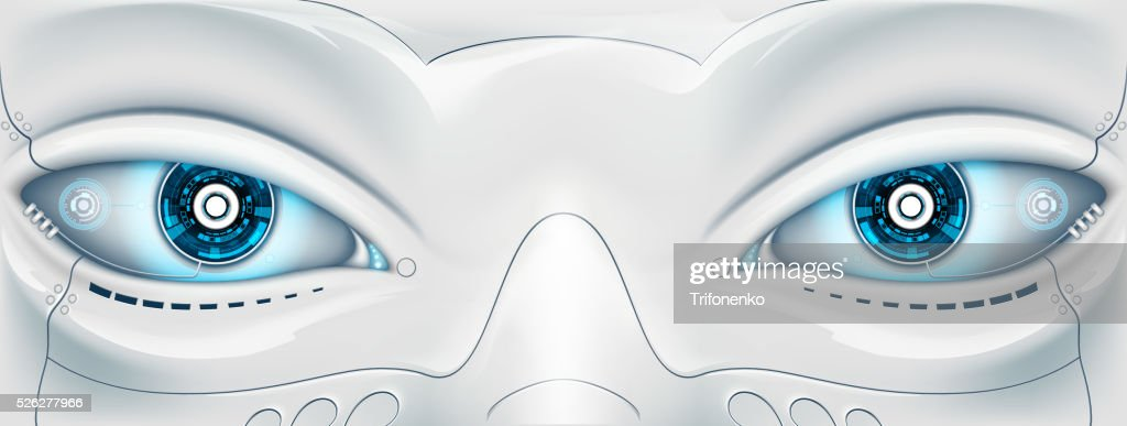 Face with eyes the robot. Futuristic machine.