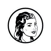 face woman pop art style comic outline
