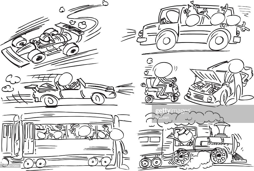 Facekess Characters with transportation vehicle