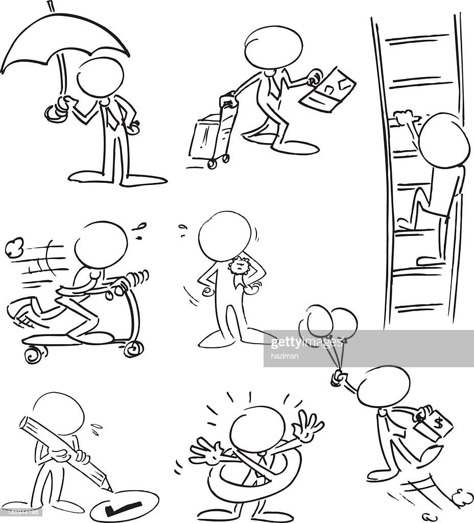Faceless businessmen characters carrying out various tasks