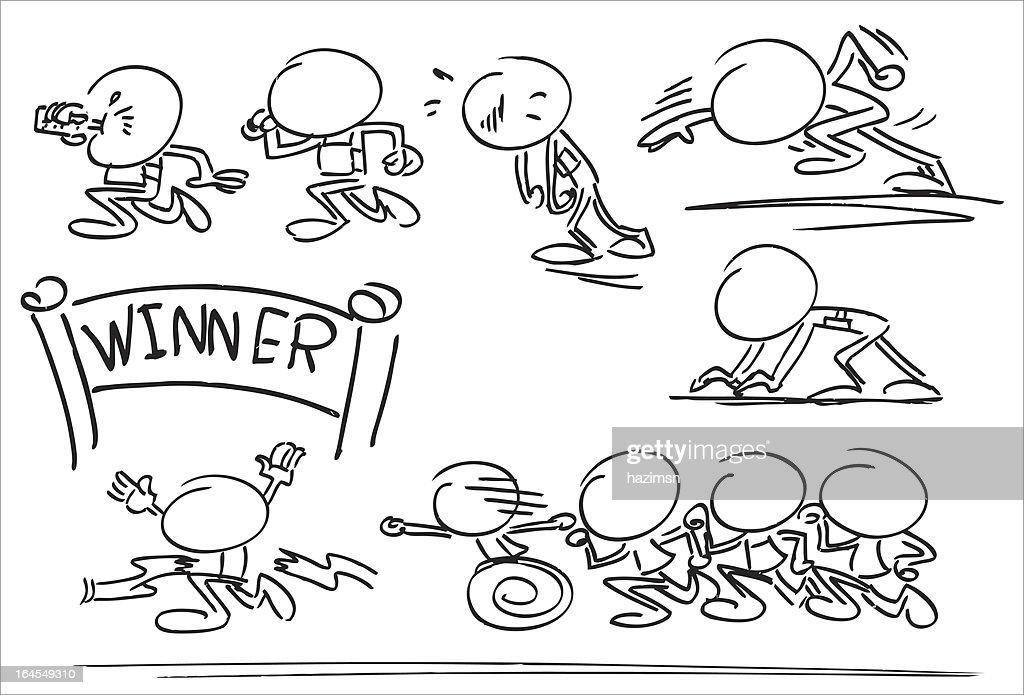 Faceless Character Running Race