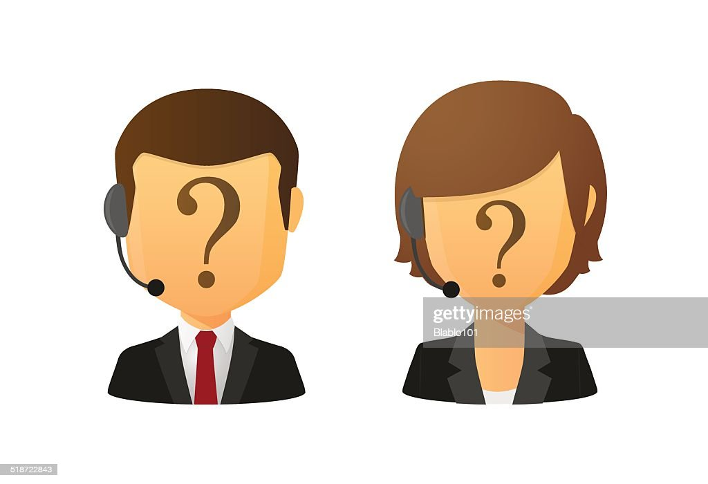 Faceless customer service workers