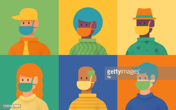 facemask protection ppe people teleconference virtual meeting - respiratory disease stock illustrations