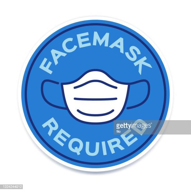facemask required symbol icon - protective face mask stock illustrations