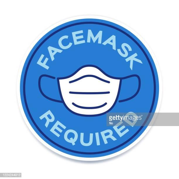 illustrazioni stock, clip art, cartoni animati e icone di tendenza di facemask required symbol icon - segnale