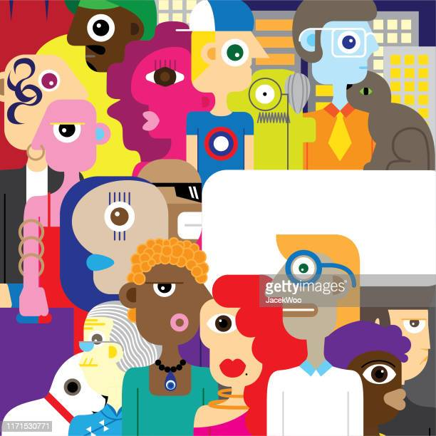 faces around us - diversity stock illustrations