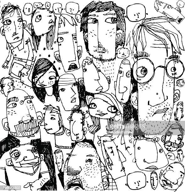faces background - illustration technique stock illustrations