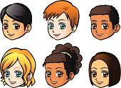 Faces of children (side view)