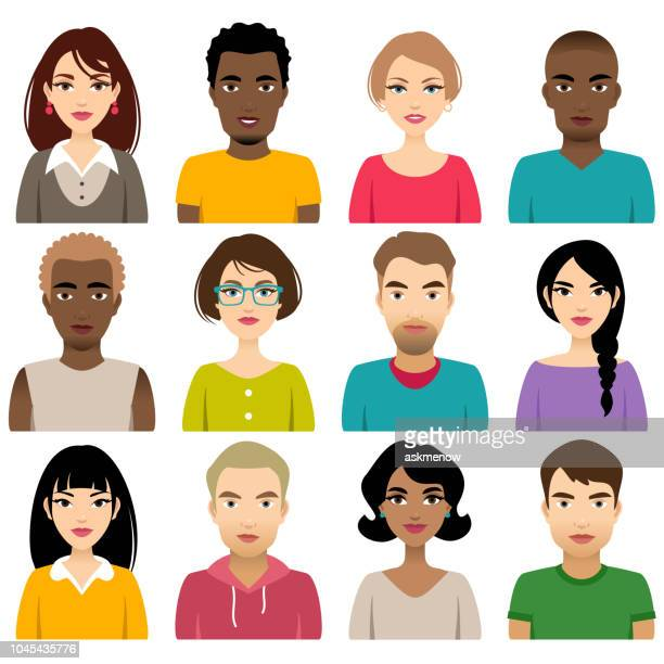 Faces of different nation people