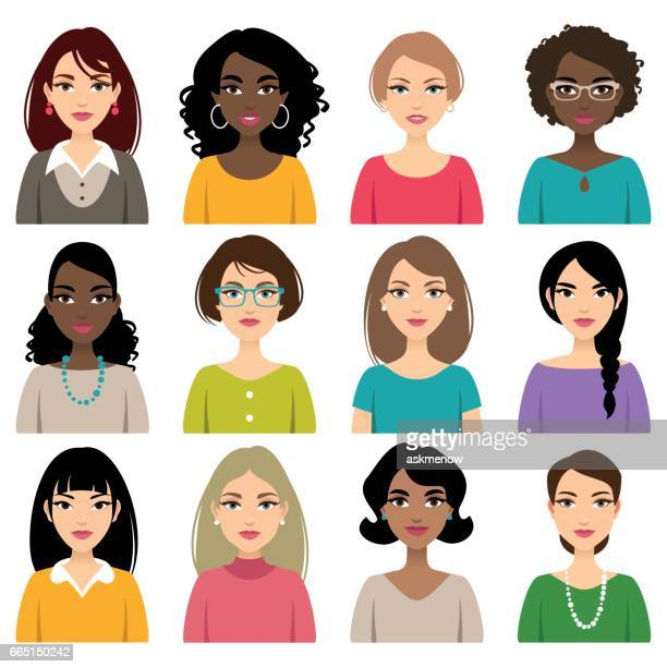 faces of different nation women - human face stock illustrations