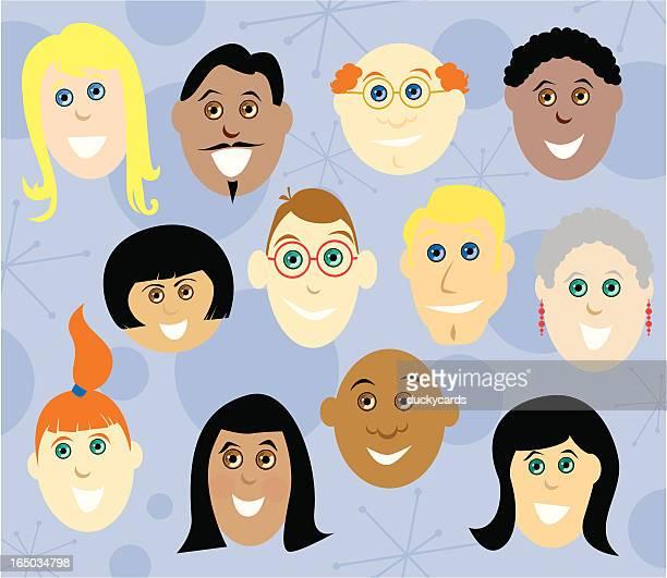 faces of diversity (vector) - balding stock illustrations, clip art, cartoons, & icons