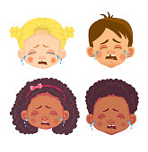 faces of girls and boys character set