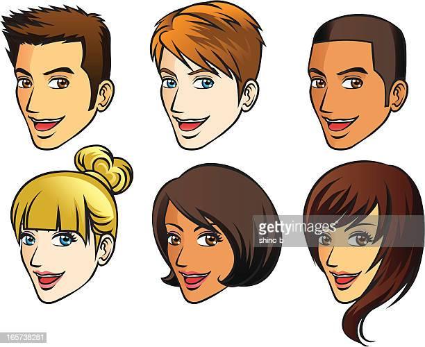 人間の顔(側面図) - ショートヘア点のイラスト素材/クリップアート素材/マンガ素材/アイコン素材