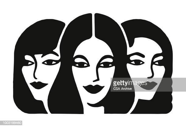 faces of three women - beautiful woman stock illustrations
