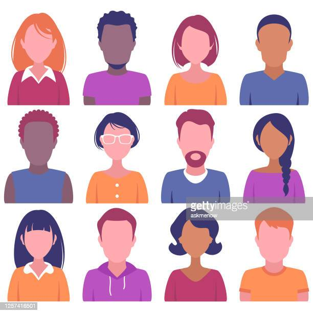 faces of various people - incidental people stock illustrations