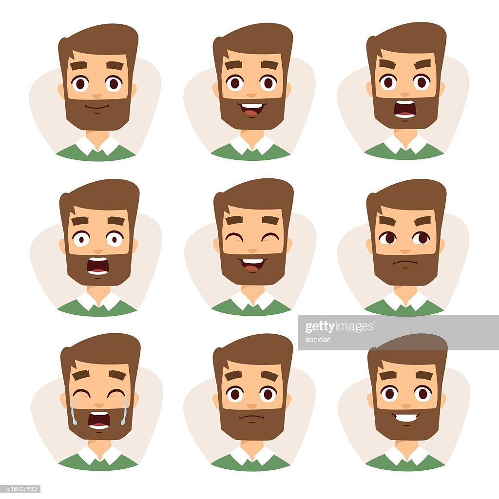 Faces vector characters mosaic of young beard man expressing different