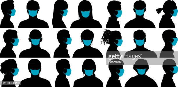 faces - side view stock illustrations