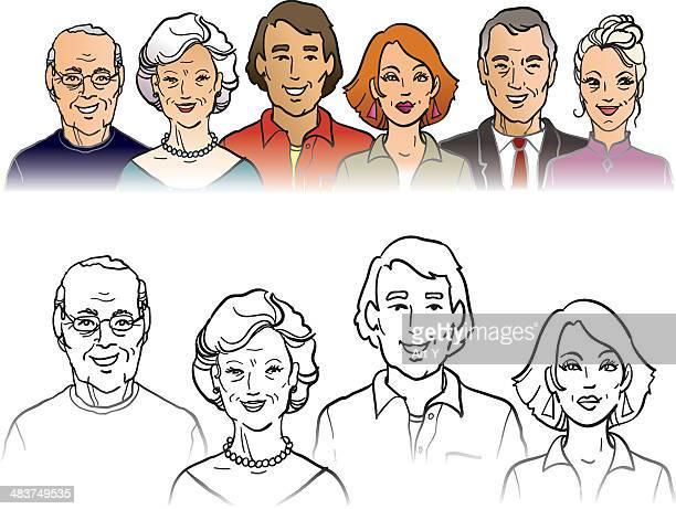 の顔 - 年配の女性点のイラスト素材/クリップアート素材/マンガ素材/アイコン素材