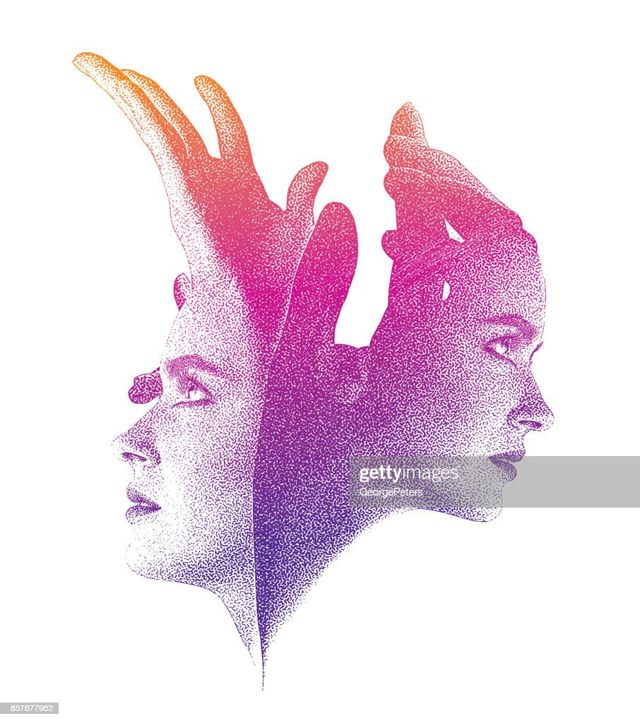 Faces with Hands reaching up : stock illustration