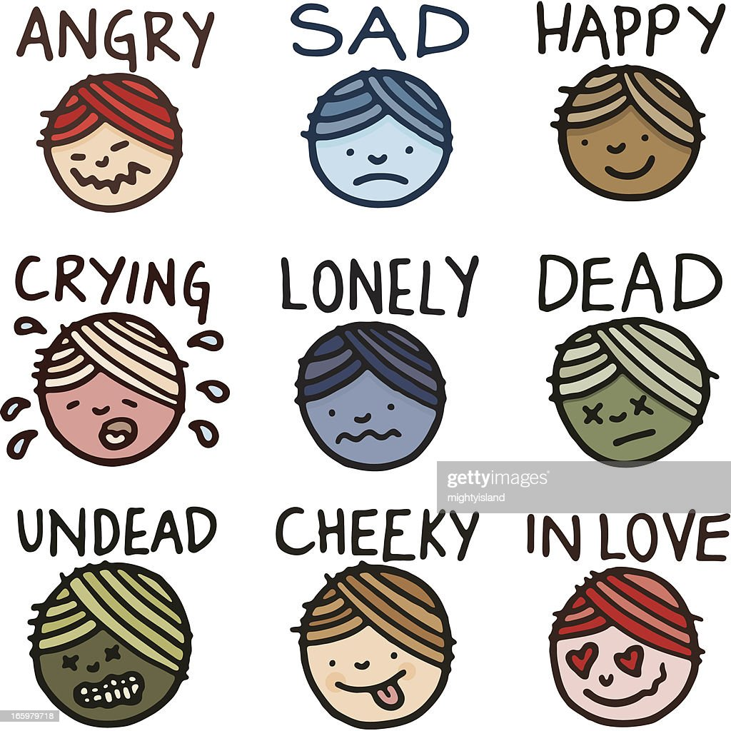 Facial emotion icon doodle set