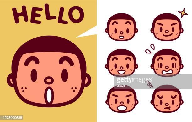 illustrations, cliparts, dessins animés et icônes de expression faciale (émoticônes) du garçon mignon avec une coupe d'équipage et tache de rousseur - jeunes garçons