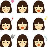 Facial expressions of asian girl