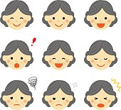 Facial expressions of old woman