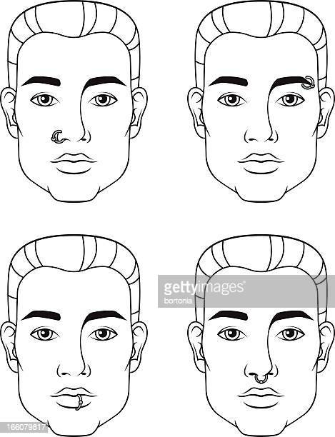 facial piercings: male - nose piercing stock illustrations