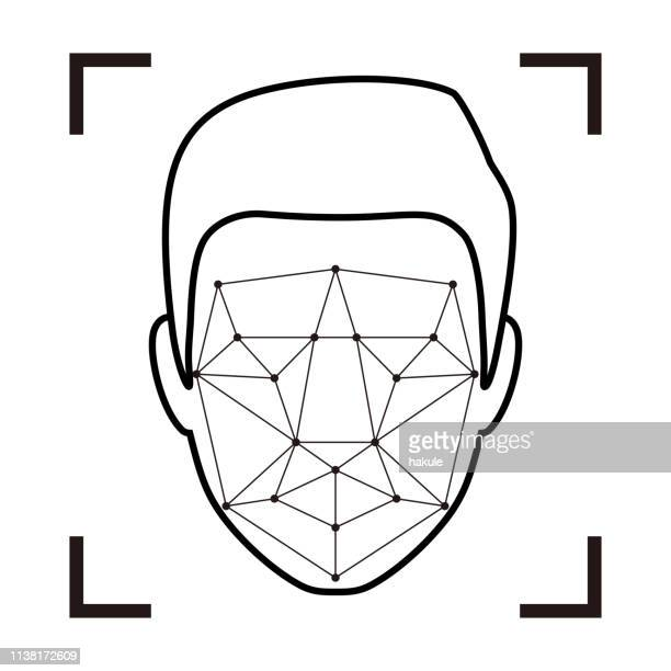 facial recognition system concept icons, simple vector illustration - human face stock illustrations