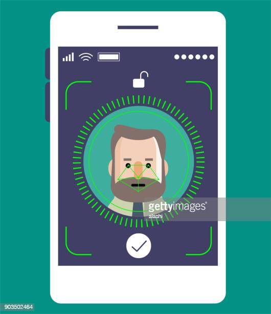 Facial recognition technology, Face ID concept, smart phone focus in a senior businessman (engineer) face
