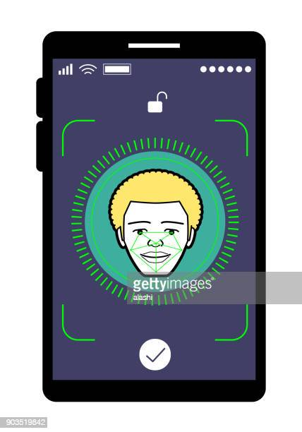 Facial recognition technology, Face ID concept, smart phone focus in a afro young adult face