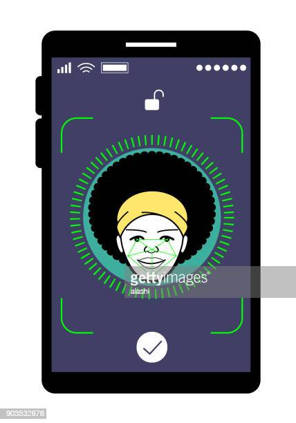 Facial recognition technology, Face ID concept, smart phone focus in a afro young adult woman face