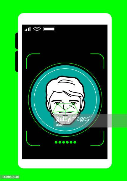 Facial recognition technology, Face ID concept, smart phone focus in a handsome businessman face