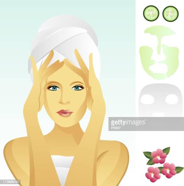 facial rejuvenation - scrubbing stock illustrations, clip art, cartoons, & icons