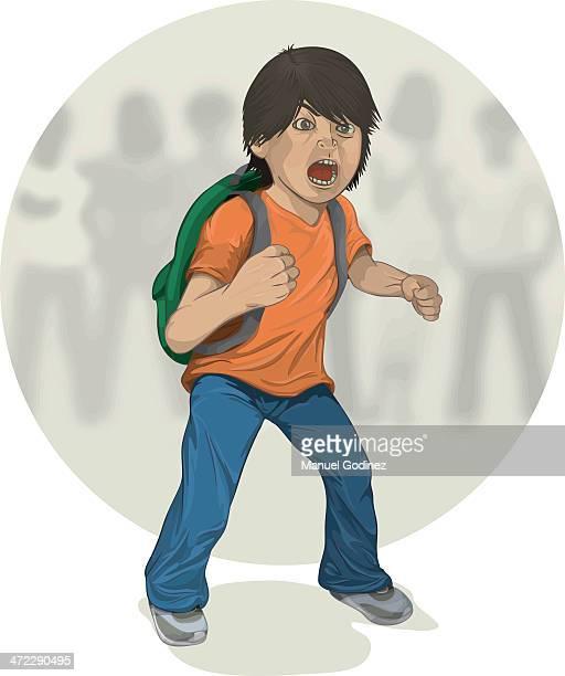 ilustraciones, imágenes clip art, dibujos animados e iconos de stock de frente a los matones - bullying escolar