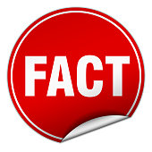 fact round red sticker isolated on white