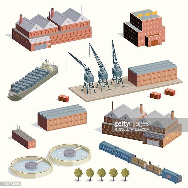 fabriken, die docks und züge - stockwerk stock-grafiken, -clipart, -cartoons und -symbole