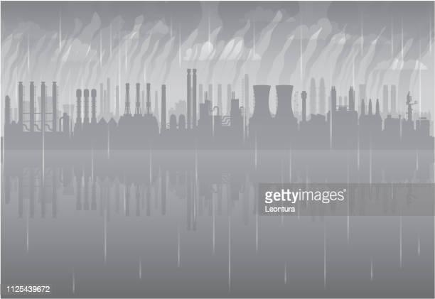 factories - acid rain stock illustrations