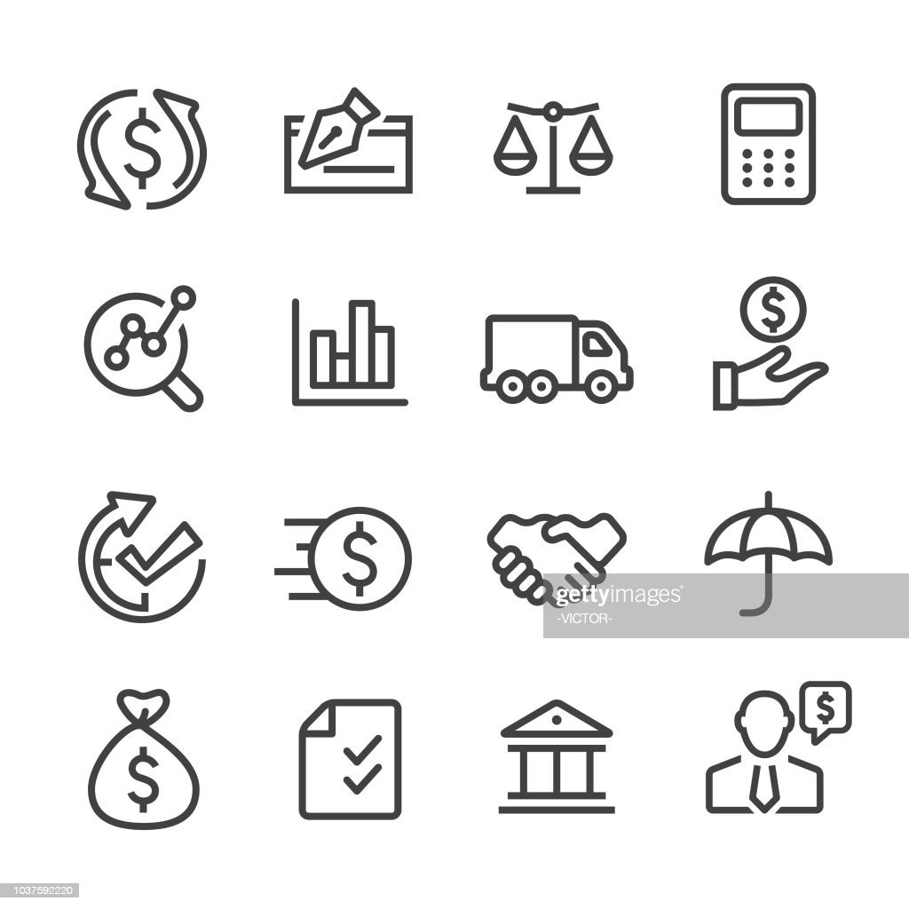 Factoring Company Icons - Line Series : stock illustration