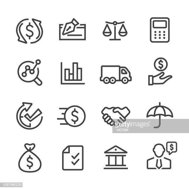 factoring company icons - line series - cash flow stock illustrations, clip art, cartoons, & icons