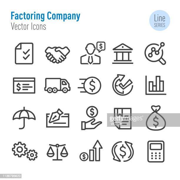 ilustraciones, imágenes clip art, dibujos animados e iconos de stock de factorización iconos de la compañía-vector line series - eliminatorias