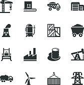 Factory and Industry Silhouette Icons