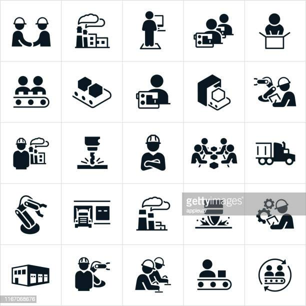 factory and mass production icons - textile industry stock illustrations