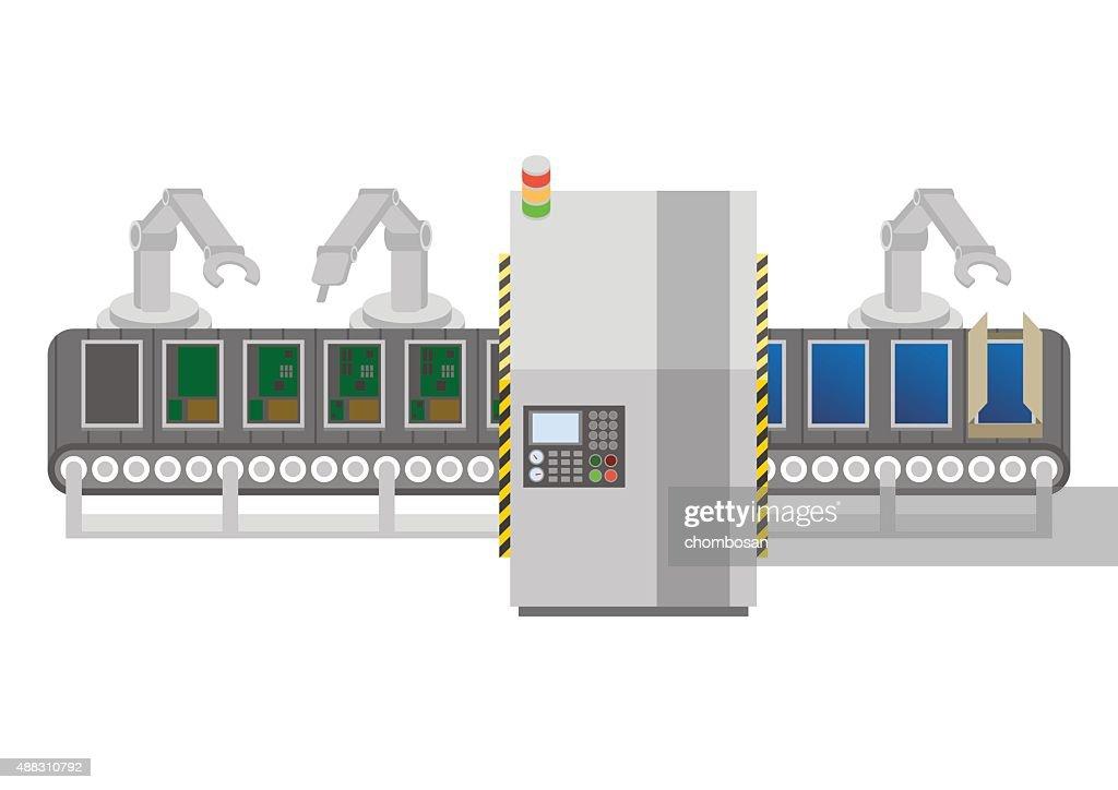 Factory automation and conveyor belt, image illustration